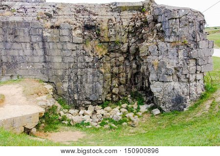 Destroyed German bunker, Pointe du Hoc, France