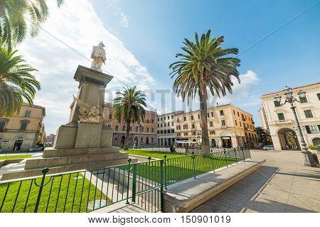 Statue in Piazza d'Italia in Sassari Italy