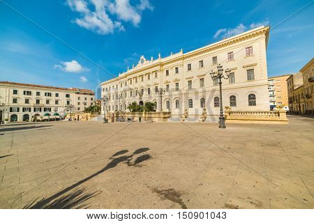 Piazza d'Italia in Sassari on a clear day Sardinia