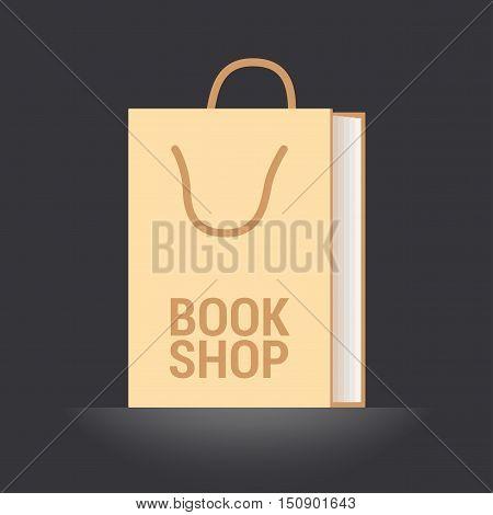 Bookstore bookshop vector emblem symbol icon logo. Template graphic design element with book as a bag for bookshop e-book store