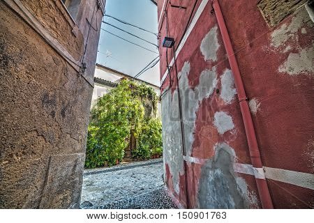 narrow backstreet in Sassari old town Italy