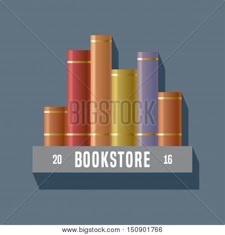 Bookstore bookshop library vector sign icon symbol emblem logo. Graphic design element with books on shelf for book store book shop e-books