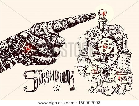 Hand drawn vector illustration mechanical hand with pointing finger. Steampunk style. Ink drawing.