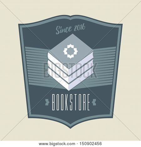 Bookstore bookshop vector sign icon symbol emblem logo. Vintage style graphic design element with books for business related to book shop book store