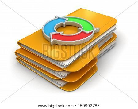 3D Illustration. Folders and files with Circular Graph. Image with clipping path