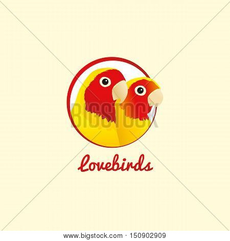 Two parrots lovebirds in circle logo. Vector.