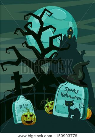 Halloween spooky cemetery concept. Cartoon illustration of Halloween spooky cemetery vector concept for web