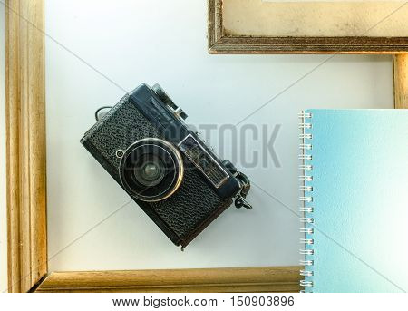 Memoirs diaries cameras old frame white background notebook