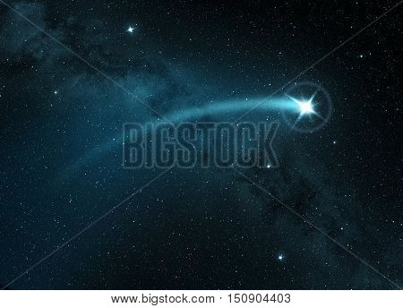 comet star shining in a starry night sky