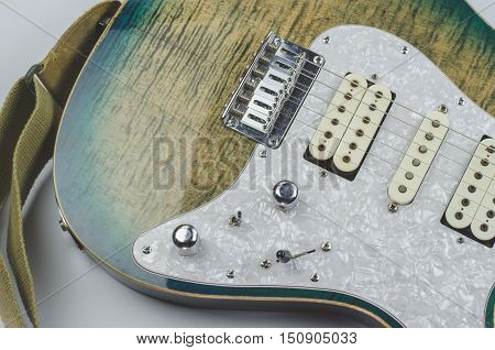 Electric guitar teal color close up Teal, audio, background
