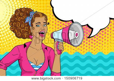 Sexy Sun-tanned Pop Art Woman With Open Mouth And Megaphone Speaking. Vector Colorful Summer Illustr