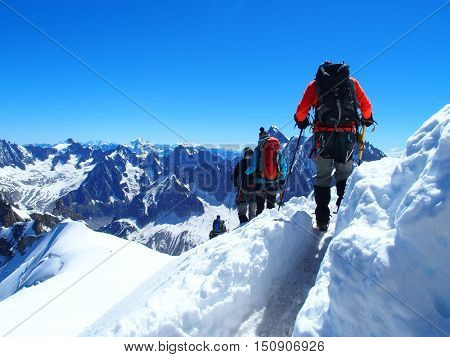 Alpinists and Mountain Climbers on Aiguille du Midi, Chamonix, Alps, France