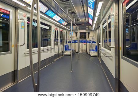 SINGAPORE - CIRCA NOVEMBER 2015: interior of a Changi Airport Skytrain car. The Changi Airport Skytrain is an automated people mover that connects Terminals 1, 2 and 3 at Singapore Changi Airport.
