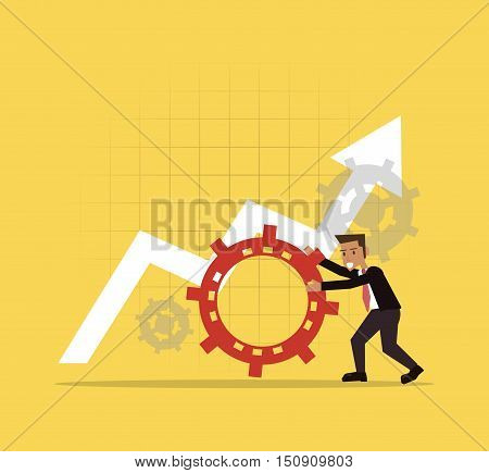 businessman and gear with elevation arrow icons image vector illustration design