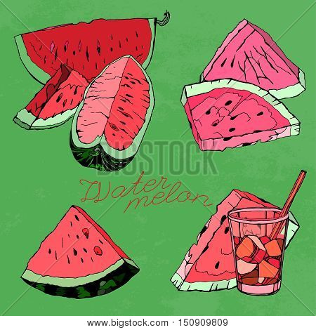 Hand Drawn Watermelon image. Vector illustration on a bright green textured background. Unique artistic concept in red, pink, green and light green colours.