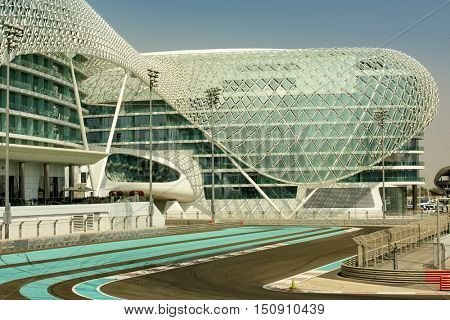 ABU DHABI, UAE - OCTOBER 08, 2016 The Yas Marina Formula 1 Grand Prix Circuit. Set amongst a Marina, with an innovative architectural design. The circuit is designed by Hermann Tilke.