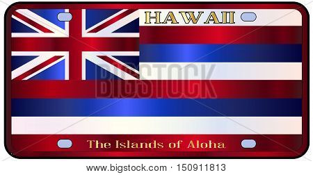 Hawaii state license plate in the colors of the state flag with the flag icons over a white background