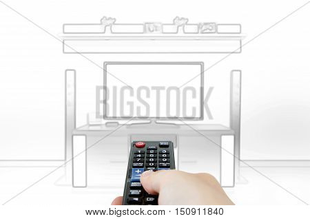 Sketch Design Of Home Cinema In Living Room