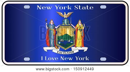New York state license plate in the colors of the state flag with the flag icons over a white background