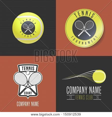 Tennis, sport set of vector logo, icon, symbol, emblem, badge. Collection of modern and vintage graphc design elements with tennis ball, racket for college league, court, championship, tournament