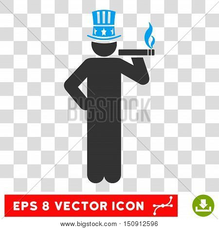 Vector American Capitalist EPS vector icon. Illustration style is flat iconic bicolor blue and gray symbol on a transparent background.