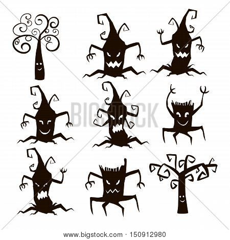 Set of silhouette of trees and stumps icons for Halloween isolated on white background