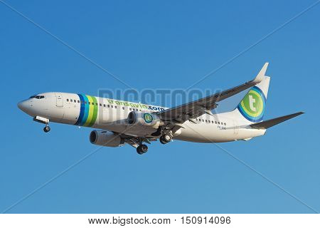 TENERIFE SPAIN - AUGUST 10: Transavia Boeing 737 is landing at Tenerife South airport on August 10 2016.