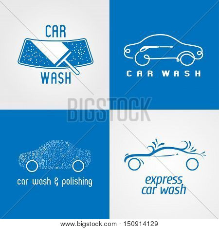 Carwash, car wash set of vector logo, icon, symbol, emblem, sign. Template isolated graphic design elements for business related to cars, automobile, vechicles washing service