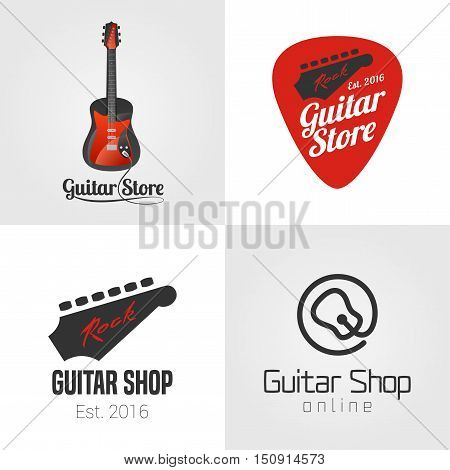 Guitar shop, music store set, collection of vector icon, symbol, emblem, logo, sign. Template graphic design elements with guitar parts
