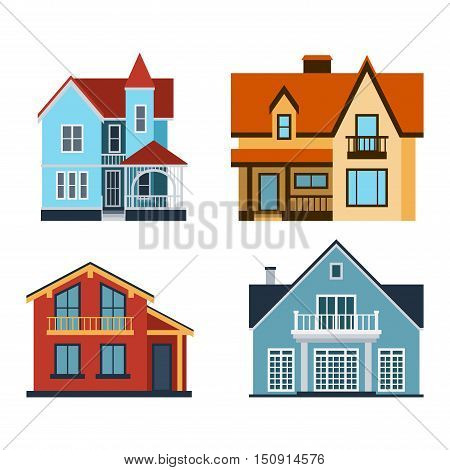 Houses front view vector illustration. Houses flat style modern constructions vector. House front facade building architecture home construction, urban house building s apartment front view
