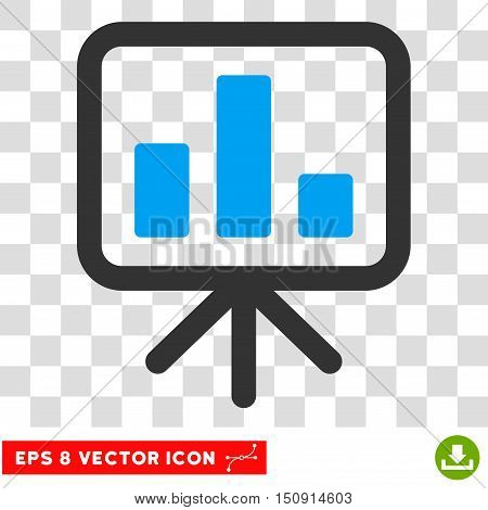 Vector Display Bar Chart EPS vector icon. Illustration style is flat iconic bicolor blue and gray symbol on a transparent background.