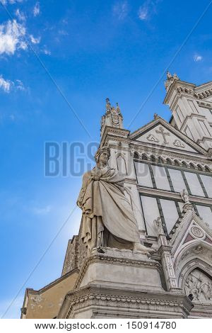 Basilica Of Santa Croce And Dante Monument In Florence