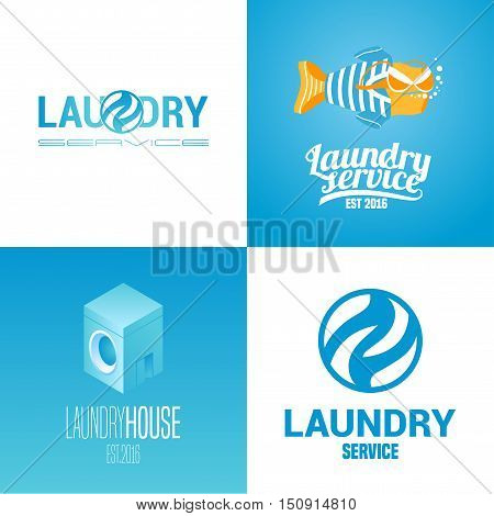 Laundry, washing service collection of vector logo, icon, symbol, emblem. Graphic template design elements with washing machine for business related to laundry
