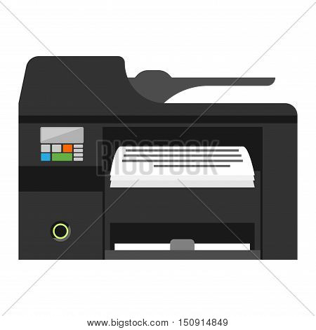 Office multifunction printer copy machine and copy machine paper office printer. Business copy machine and vector technology equipment photocopy copy machine. Digital scan modern secretary.