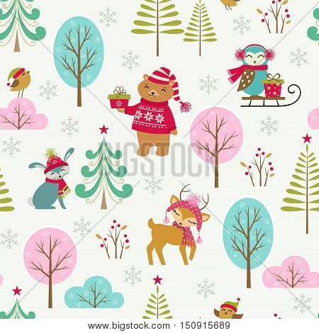 Seamless Christmas woodland pattern with cute animals.