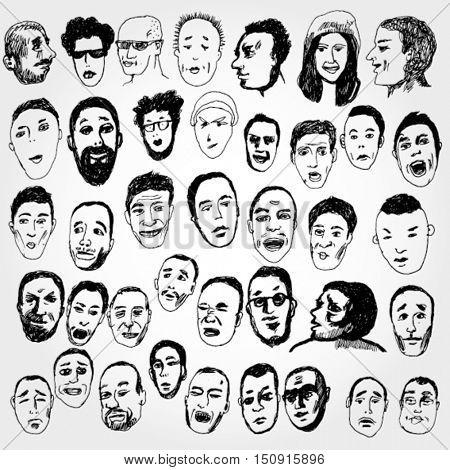 Big Set of Doodled Faces
