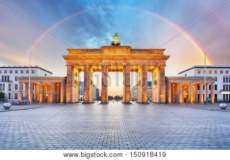 Berlin Brandenburger gate with rainbow in Germany