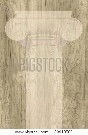Ionic column it is located against the background of wooden texture.. 3D illustration