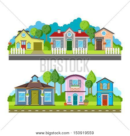 Residential village houses flat vector illustration, urban landscape. Street with building facade and green trees