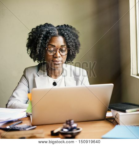 Businesswoman Computer African Descent Office Concept