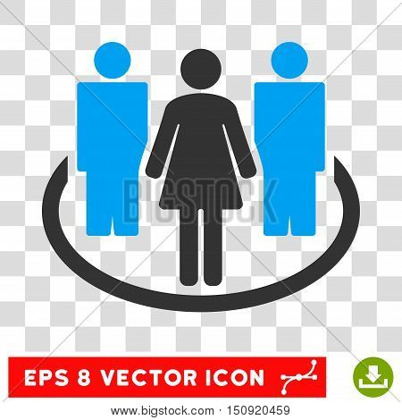 Vector Society EPS vector pictogram. Illustration style is flat iconic bicolor blue and gray symbol on a transparent background.
