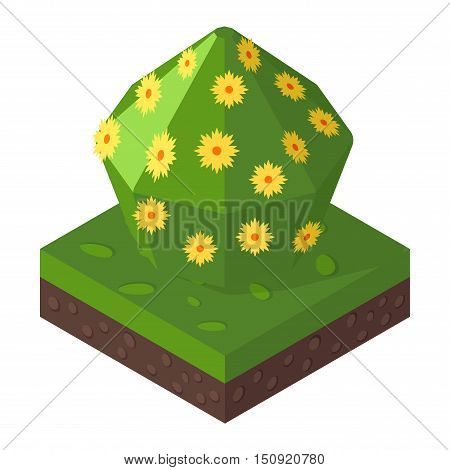 Green isometric tree and garden isometric nature street plant. Isometric tree natural spring element. Map foliage park eco concept. Isometric tree green forest nature vector illustration.