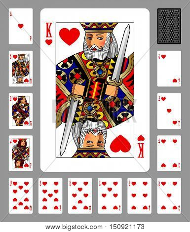Playing cards of Hearts suit and back on green background. Colorful original design. Vector illustration