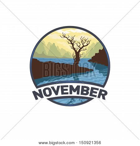 Vector image of a logo emblem symbol of the calendar month. The isolated nature of the flat design of the season. The template for printing. November autumn