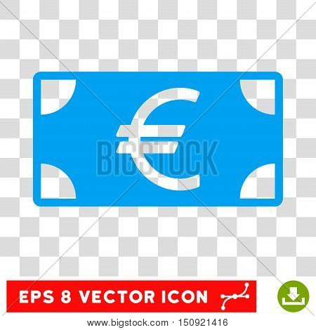 Vector Euro Banknote EPS vector icon. Illustration style is flat iconic blue symbol on a transparent background.