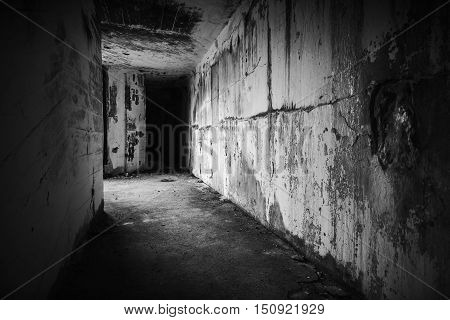 Empty Abandoned Bunker Interior With Dark End