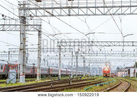 Locomotiv On Railroad Track, Russia