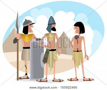 Vector illustration of a egyptians at desert
