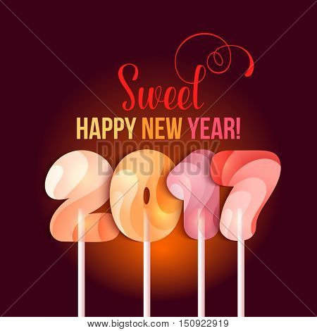 Sign New Year 2017 in shape of candy on stick. Year number striped like holiday candies. Vector design element for christmas, new years day, sweet-stuff, winter holiday, new years eve