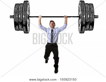 composite young attractive businessman power lifting heavy dumbbelll weights metaphor to cost of living obligations taxes and bills payment in burden and struggle concept isolated on white background poster